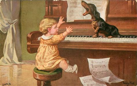 Child And  Ee  Dachshund Ee   Piano  Ee  Dachshund Ee   Sitting On