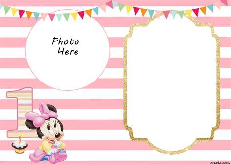 birthday blank template free printable minnie mouse 1st invitation templates