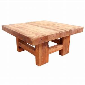 rustic wood block square coffee table at 1stdibs With square block coffee table