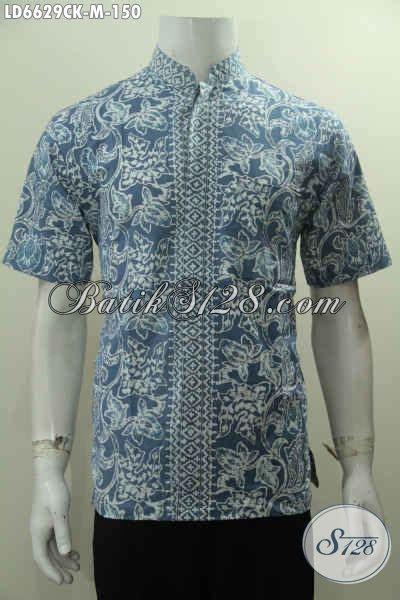 baju batik kerah shanghai cowok hem batik lengan pendek kantong depan motif bagus kwalitas