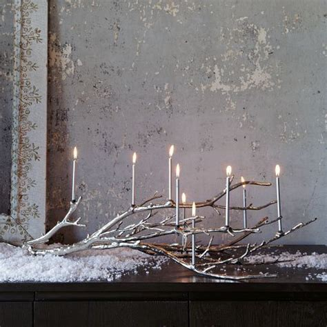 silver glowing branch candle holder christmas pinterest