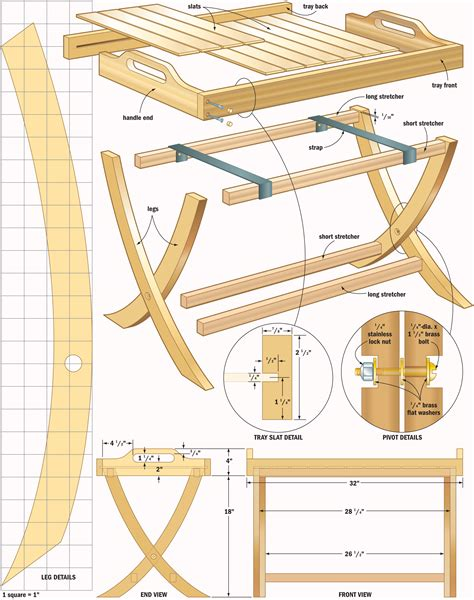 portable table tray woodworking plans woodshop plans