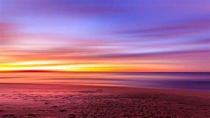 Sunset Sky Purple Footprints Sand Wallpapers Resolution