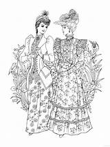 Abbey Coloring Downton Skirts 1930s Hoop Corsets Cards Bits Template Corset Ladies Colouring sketch template