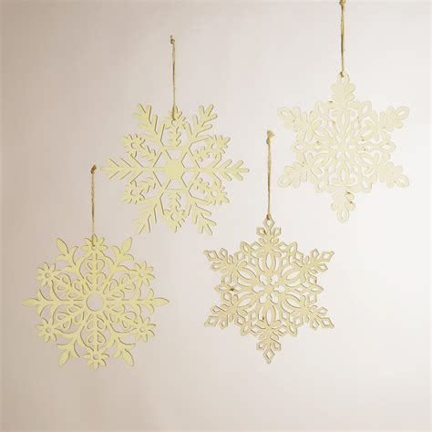 laser cut wooden hanging snowflakes set of 4 world market