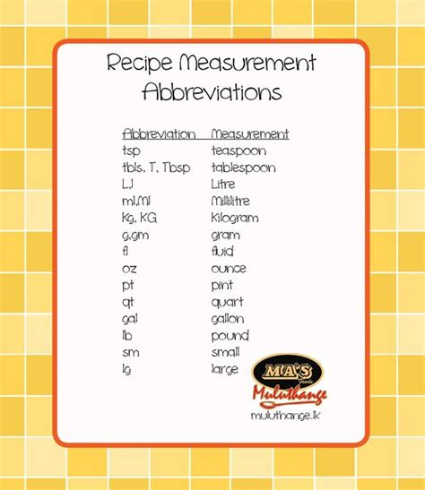 common recipe measurement abbreviations convenient conversions pinterest cooking tips and