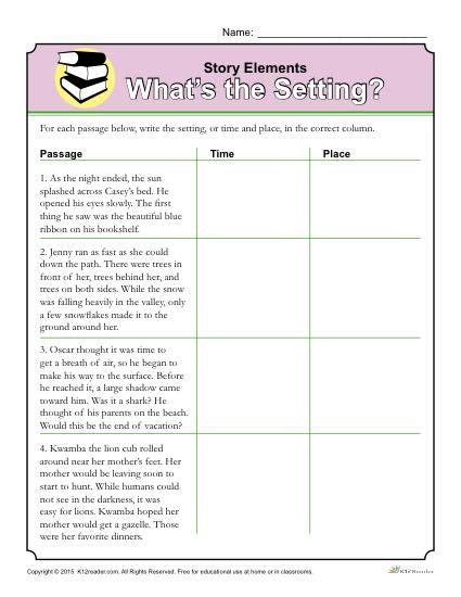 story elements worksheet what s the setting story