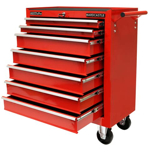 Red Metal 7 Drawer Lockable Tool Chestbox Storage Roller