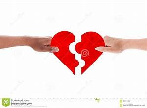 Mixed Couple Hands Holding Holding Heart Shape Puzzle ...