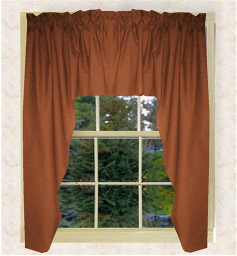 solid rust colored swag window valance