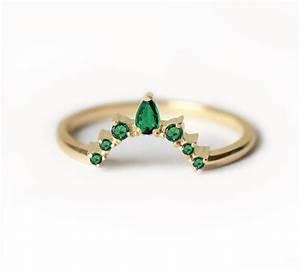Emerald wedding ring emerald wedding band curved wedding for Wedding rings with emeralds