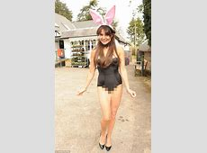 Lizzie Cundy steps out in a VERY racy sexy bunny outfit