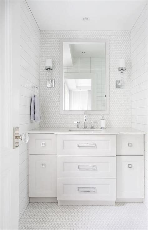 white and gray bathroom features crystal cube single