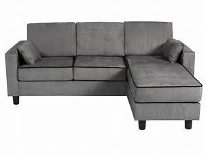 Canapé D Angle Conforama : canap d 39 angle r versible 3 places en tissu logan coloris gris noir vente de canap d 39 angle ~ Teatrodelosmanantiales.com Idées de Décoration