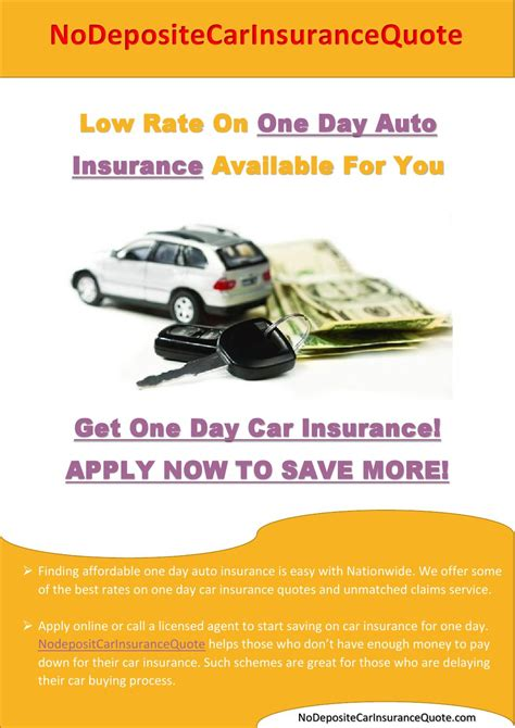 One Day Car Insurance By Nodepositcarinsurancequote Issuu