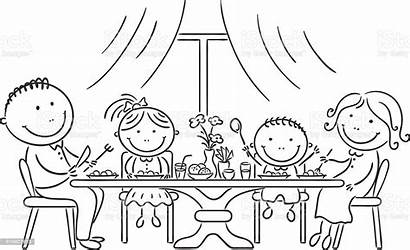 Meal Together Having Dinner Familia Coloriage Eating