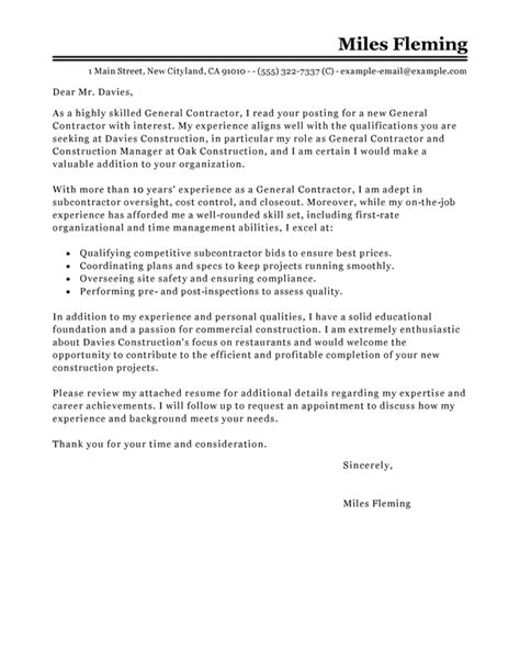 general contractor cover letter