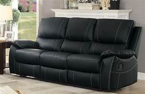 homelegance greeley top grain black leather double With homelegance black leather reclining sectional sofa chaise recliner