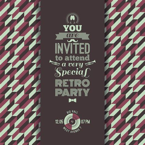 invitation  retro party vintage retro geometric