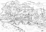 Village Paisajes Colorear Colorare Coloring Disegni Scenario Adultos Landschaften Landscapes Snowy Malbuch Erwachsene Fur Adulti Cottages Mountain Pretty Bridge Tall sketch template