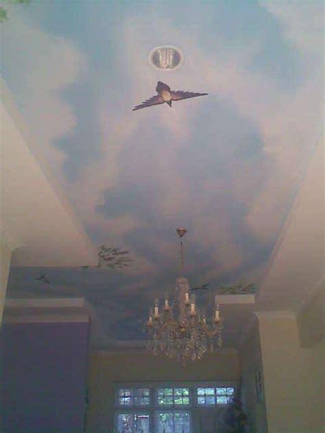membuat gambar lukisan awan   plafon