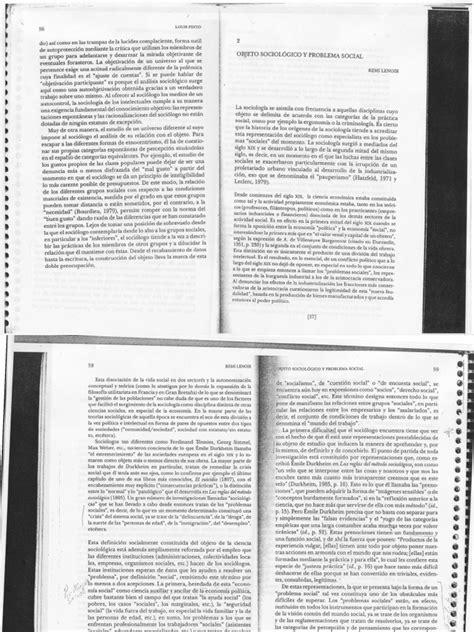 Remi Lenoir - Objeto Sociologico y Problema Social