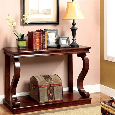 elegant console table curved wood accent entry solid foyer sofa entryway cherry ebay