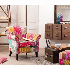 Petit Fauteuil De Salon : petit fauteuil salon patchwork tissu boh me ~ Teatrodelosmanantiales.com Idées de Décoration