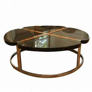 large marble burlwood steel round coffee table at 1stdibs With large round marble coffee table