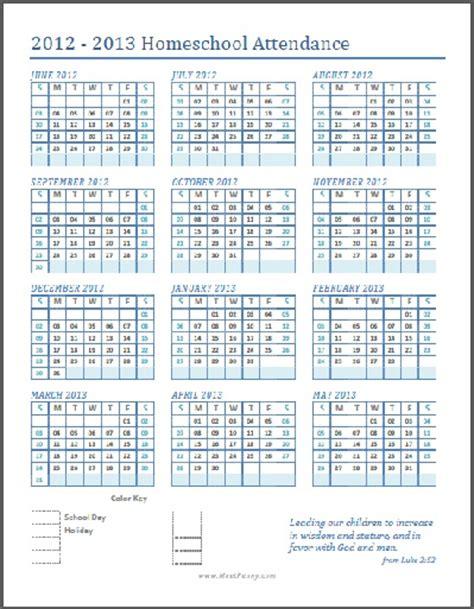printable homeschool attendance calendar