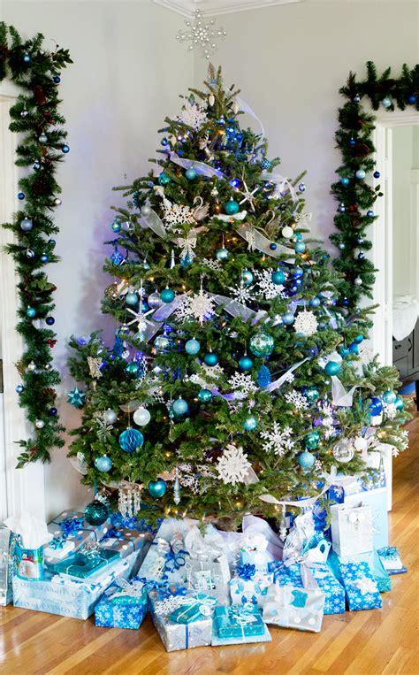 snowflake christmas tree blue and silver snowflake decor