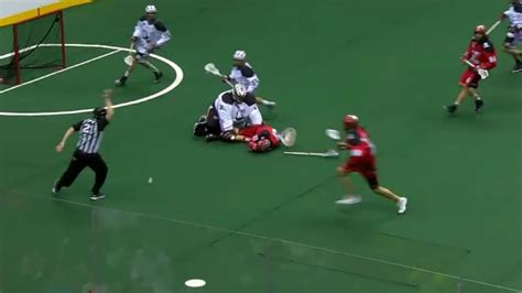 karsen leung takes  big hit  lbs goalie