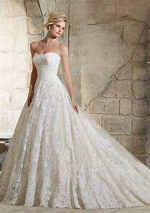 delicate beaded lace on tulle wedding dress style 2787 With tulle and lace wedding dress