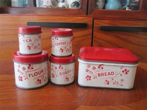 vintage  childs tin  piece canister set vintage