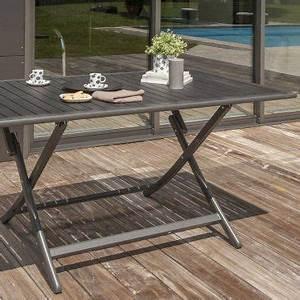 Table Jardin Pliable : table pliante en aluminium coloris gris anthracite et ses 4 chaises assorties mobilier compact ~ Teatrodelosmanantiales.com Idées de Décoration