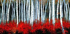 Birch 24 X 48 Painting by Michael Swanson