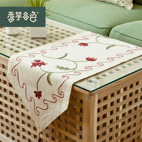 small table runner lu embroidery linen rustic embroidery small table runner 2374