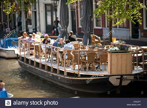 Boat Basin Cafe Wedding by Canal Side Barge Boat Cafe Leiden Netherlands