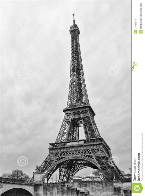 eiffel vertical  black  white stock photo