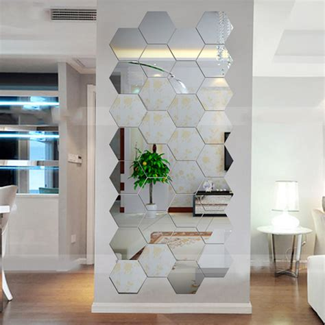 mirror sets wall decor hexagonal 3d mirrors wall stickers home decor living room