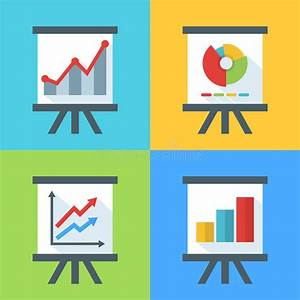 Vector Set Of Flat Diagram And Chart Icons On The Board
