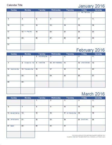 printable quarterly calendar template excel