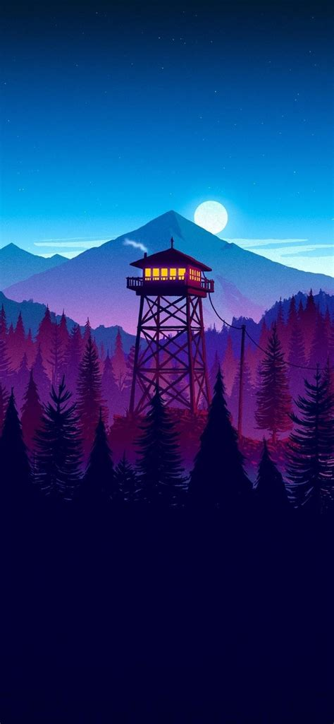 wallpaper watchtower moon mountains forest art picture