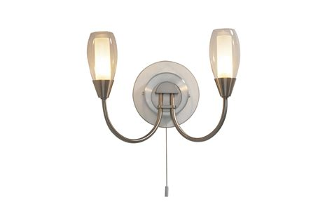 tugel 2 light satin chrome wall light 027561 tug0946