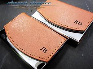 Personalized business card holder leather business card for Monogrammed leather business card holder