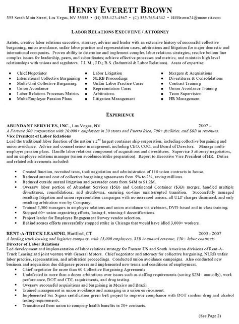 Relations Resume Template by Resume Sle Labor Relations Executive Career Commons