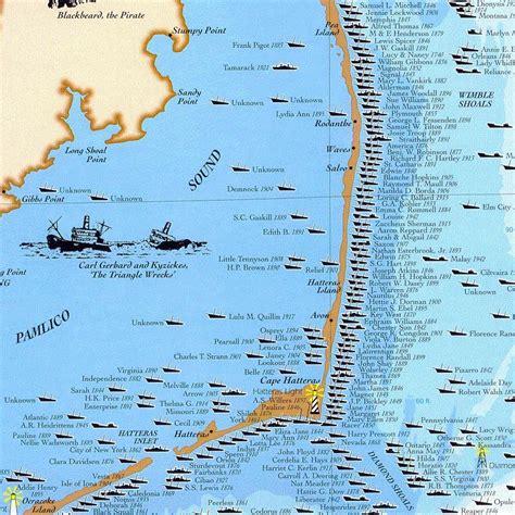 shipwrecks   outer banks north carolina maps
