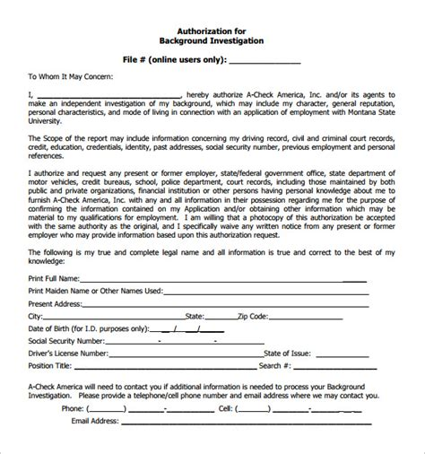 Free Background Check New Authorization Form For Background Check