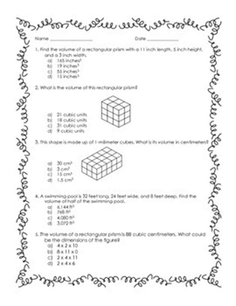 5th grade volume practice worksheet by s learning