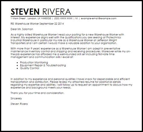 warehouse worker cover letter warehouse worker cover letter sle cover letter 17737